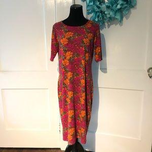 LuLaRoe Maria Maxi Dress Retro Hibiscus